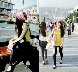 Trinx C - Botique In Hk Yellow Ruffle Top, Black Tight Leggings - Walk down south