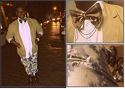 Nathaniel White - I Mead It Myself :) Camo Bowtie W/ Chain Detail, Old Navy Thrifty Blazer, Levi's® Destroucted/Bleached Jeans, Dr. Martens Doc's - Dapper n' destructed