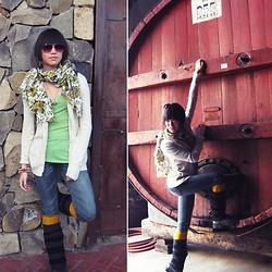Josephine Chang - Topshop Green Floral Scarf, Michael Kors Green V Neck Shirt, Target Cream Boyfriend Cardigan, Target Blue Faded Jeans, H&M Mustard Legwarmers, Target Grey/Black Striped Legwarmers - Uncharted Feelings