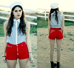Lexi L - American Vintage Sailor Hat, Second Hand Striped Sleevless Button Up, From A Friend High Waisted Studded Shorts - Seahunt