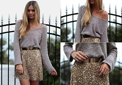 Jessica Stein - Sportsgirl Knit, Zara Sequin Skirt, Sabo Skirt Belt - All That Glitters