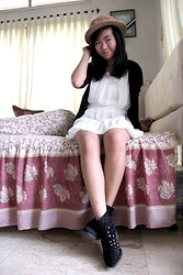 Nathania Hulu - Hat, White Dress, Black Cardigan, Boots - Long time no see