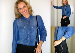 Vanda Santos - Accessorize Necklace, La Redoute Denim Shirt, Dkny Bag, United Colors Of Benetton Skirt - Denim & Curls