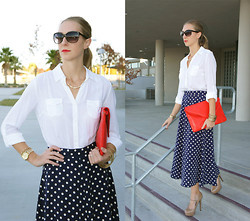 Sherry Goldsmith - Forever 21 White Button Up Shirt, Aldo Nude Mary Janes - Navy Polka Dots