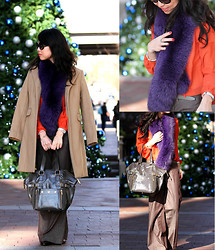 Linda P - H&M Blouse, Banana Republic Pants, Neiman Marcus Fur Stole, Yves Saint Laurent Purse, Chanel Sunglasses, J. Crew Coat - Work Glam