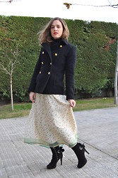 Elena V. - Zara Coat, Made By Me Dress, Cuplé Booties - Long Skirt
