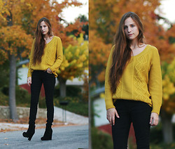 Bethany Struble - Lamb & Flag Yellow Cable Knit Sweater, Coated Black Jeans - I Couldnt Stay Away