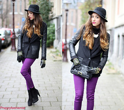 Virgit Canaz - H&M Leather Half Coat, Gift Purple Pants, H&M Hat, Zara Gloves, Zara Ankle Boots - My purple gift