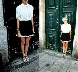 Emma M - H&M White Cropped Button Up, Forever 21 Navy With White Trim Skirt - Big City Life