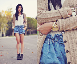 Jenny Ong - Lamb & Flag Sweater Cardigan, Zara Silk Blouse, Helmut Lang Chambray Shorts, Jeffrey Campbell Studded Ankle Boots, Jewel Mint Bracelet - LAMB X FLAG