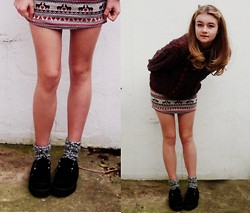 Ava S - Vintage Maroon Jumper, Urban Outfitters Patterned Skirt, New Look Socks, Creepers - Christmas Skirt
