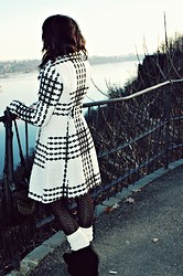 Ariana Raissis - Express Black And White Tweed Coat, H&M Black Triangle Sweater Tights, Rainbow Black Suede Wedges, Ivory Cableknit Leg Warmers, Billabong Black Fringe And Studs Crossover - Hoping, Wishing, Praying, Dreaming