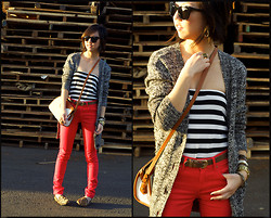 Christine Y - H&M Red Pants, H&M Sweater, H&M Tube Top, Steve Madden Loafers, Dooney & Bourke Handbag, Elizabeth And James Sunglasses - Crimson Red on my Legs