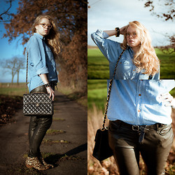 Sophia S - Moxham Bracelet, Vintage Shirt, All Saints Leather Trousers, Sam Edelman Boots, Chanel Bag - Going Up The Country