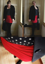 Girl - C&A Dotted Top (Old), H&M Black Blazer (Old), Hema Red Bodycon Skirt, Evans Black Anklebooties, Zara Knock Off Shopper - Dotted Day
