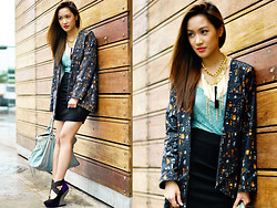 Laureen Uy - Balenciaga Bag, Rajo For Parisian Wedges, H&M Skirt, 37la Leotard, Cole Vintage Blazer - Wooden Walls (BMS)