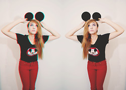 Mariah Nicole - Handmade Mickey Ears, Disney Mickey Mouse Club Tee, Hot Topic Red Skinnies - M-I-C-K-E-Y  M-O-U-S-E