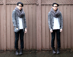 Mark Patrielle Bueno - Adrian Wu Scarf, Urban Outfitters Cardigan, American Apparel Shirt, H&M Pants, Zara Boots - It Will Rain