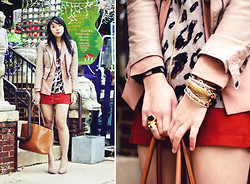 Diya L - Forever 21 Leather Jacket, Old Navy Leopard Cardigan, Suede Skirt - Mixed lengths