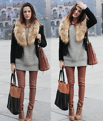 Marty P. - Zara Sweater, H&M Pants, Shoes, Bag, Fur, Vintage Blazer, Bag - 15122011 look of the day