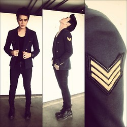 Jira Danbawornkiat - Zara Military Jacket, Cheap Monday Black Skinny Jean, Dr. Martens Black Boot - The Military