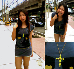 Steffie Dela Cruz - Project Feral John Lennon T Shirt, Xoxo Denim Cut Offs, Forever 21 Neon Lime Crucifix Pendant - It's not like I'm going to a party