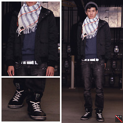 Max Wright - H&M Beanie, Ready To Resist Arrest Face, H&M Jacket, Pacsun Drake's Skinniest Jeans, Armourdillo Leather Belt, Puma Vintage/Imported Hi Tops, Divided Long Sleeve, Scotch & Soda Gauzy Scarf - Euro Protest