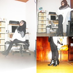 Amalia Hani - Aldo Black Boots, Unbranded White Sweater, A Bonus From Gogirl Magz Sunglasses - Let's back to the first step!!