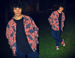 Rui Mendes - Vintage American Flag Print Jacket - I'm a bad kid like my mom and dad made me...