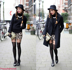 Virgit Canaz - Bruuns Bazaar Coat, H&M Black Hat, New Look Loafers, Zara Sequin Bag, Cool Cat Leopard Skirt, Topshop Bow Tights - Leopard me chic