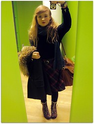 Linnéa B - Thrifted Black Belt, Hand Me Down Black Turtleneck, H&M Green Coat, Thrifted @ Myrorna Fox Fur Collar, Thrifted @ Myrorna Grey Blue Scarf, Thrifted @ Myrorna Plaid Skirt, New Look Brown Boots, H&M Retro Schoolbag - Library Girl