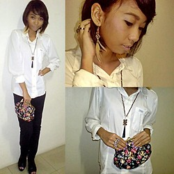 Nica U. - Guess? Polo, Next Black Skinny Jeans, Forever 21 Feather Earrings, Forever 21 Floral Clutch - Anticipated Misa de Gallo