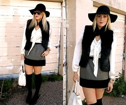 Devon D - Tinley Road Vest, Gap Skirt, Karen Walker Sunnies - Black Hat