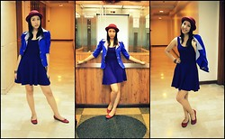 Trina Marie Ledesma - Shoe Box Red Flats, Bazaar Red Hat, Blue Blazer - My Red Hat