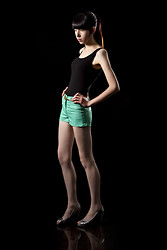 Elena Braun - H&M Black Tanktop, H&M Green Shorts, Pago Gil Silver Peep Toes - Out of battery