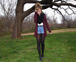 Niki Adams - Forever 21 Cardigan, Forever 21 Scarf, Thrifted Belt, Diy Thrifted Shorts, Wal Mart Tights, Thrifted Booties - Feel the heartbeat in my mind.