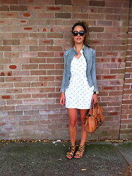 Frankie Sunshine - Chloé Handbag, Watson X Pony Hair Leopard Print Sandals, Hermës Collier De Chien, Vintage Suede Cut Out Jacket, Frankie Sunshine Vintage Polka Dot Dress - Spots and Bricks