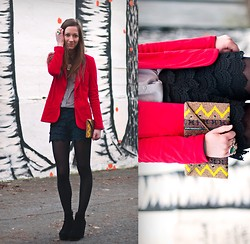 Gabrielle Lacasse - Zara Lace Shorts, Forever 21 Clutch, Forever 21 Red Blazer - Holiday outfit 1