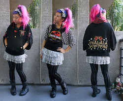 Stephiee Nguyen - Costume Dept. Gunmetal Striped Leggings, Tralala Plaid Cape Jacket, Tokyo, Japan Gray Lacey Skirt, Santee Alley In Dtla Gray Buckle Boots, Purrr Remake Jurassic Park Top, Shibuya 109 Belt Chain, Popkiller (On Sunset) Metal Hairbow - Breezy LA Winter