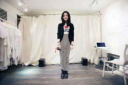 Marguerite Mengjie CHEN - I Love Paris, H&M Zigzag Long Skirt - I Love Paris