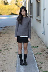 Yuri Lee - Mango Sweater, American Apparel Skirt, Dr. Martens Lace Up Boots - Love my docs!