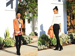 Amara nichole . - H&M H & M Leggings, Forever 21 F21 Victorian Style Blouse, Vintage Clutch - Some Things Are Just Black & White.