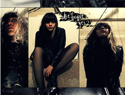 Beetle Fanfare - T.U.K. Black Creepers, Heidiwood Black Leather Jacket, Rounded Glasses, Torn Stockings - I was born to be brave.