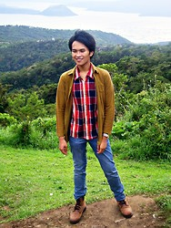 Carlo Agdamag - Arrow Plaid Button Down, Dean And Trent Blazer, Levi's® Jeans, Lumberjack Boots - Mountain Trekker