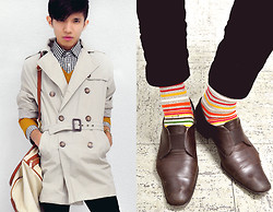 Mc kenneth Licon - Zara Trench Coat, Zara Gingham Shirt, Zara Sweater, Giorgio Armani Slip On - Scandinavian Stripe