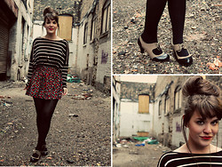 Selective Potential - Zara Striped Top, Urban Outfitters Floral Skirt, Lulu*S Oxford Heels - Urban alley