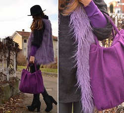 Annachiara S. - Romwe Faux Fur Vest - Purple day!