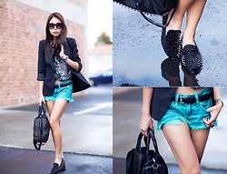 Marcella L - Spiked Loafers, Wildfox Couture Friday Night Shorts - Spiked.