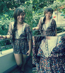 Camille T. - Forever 21 Floral Top, Singapore Necklace, Singapore Earrings - Bohemian 101