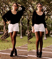 Dana Lee - Forever 21 Black Jumper, Mango White Shorts, Prooptical Glasses, Forever 21 Wedge Boots - ADJUSTED